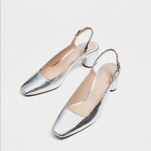 ZARA silver slingback court shoes US 7.5 EU 38